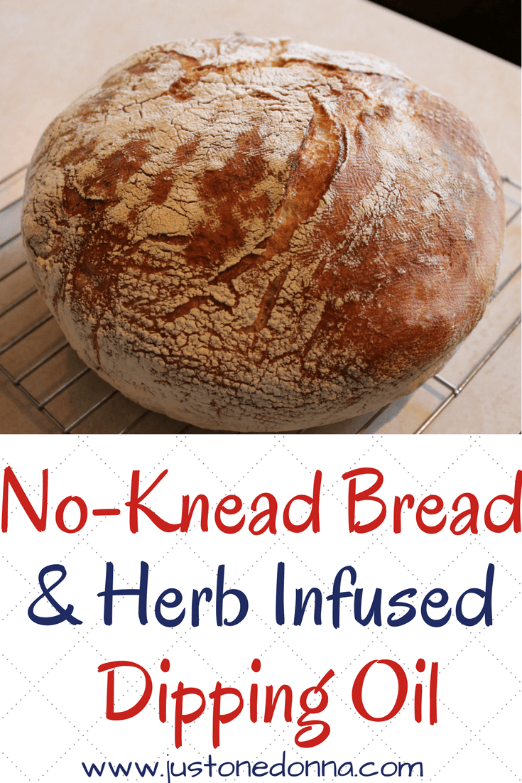 This no-knead bread has a crunchy crust and a lovely rustic texture that is soft and full of yummy holes.  It makes wonderful nooks and crannies, perfect for dipping into your favorite seasoned dipping oil.