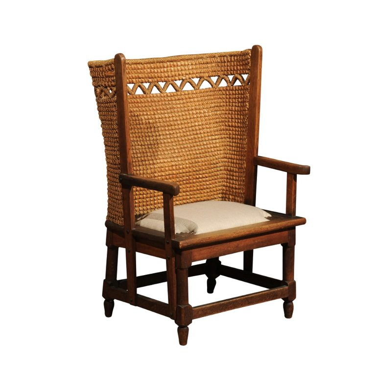 1stdibs wingback chair orkney handwoven back zigzag