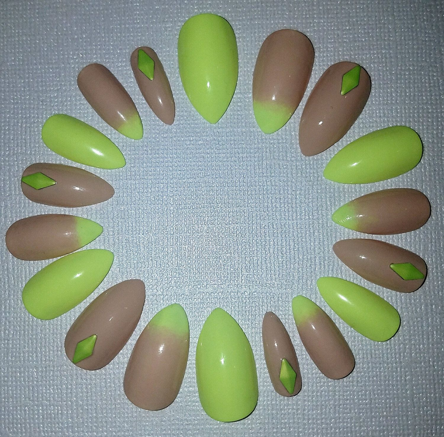 Nude and Neon Yellow Stiletto Nails- Press on Nails- Glue on Nails ...