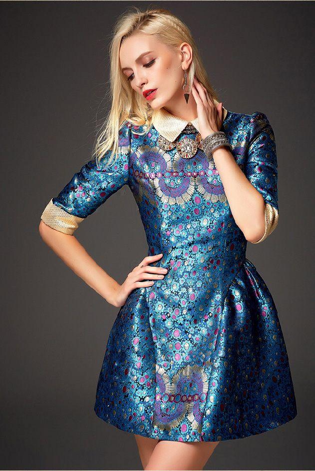 Blue Half Sleeve Embroidered Flare Dress - Sheinside.com