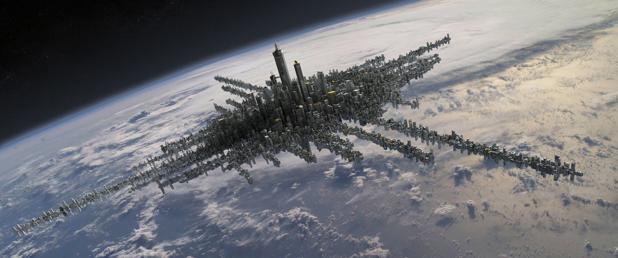 Digital matte painting of futuristic city in space by for Space matte painting