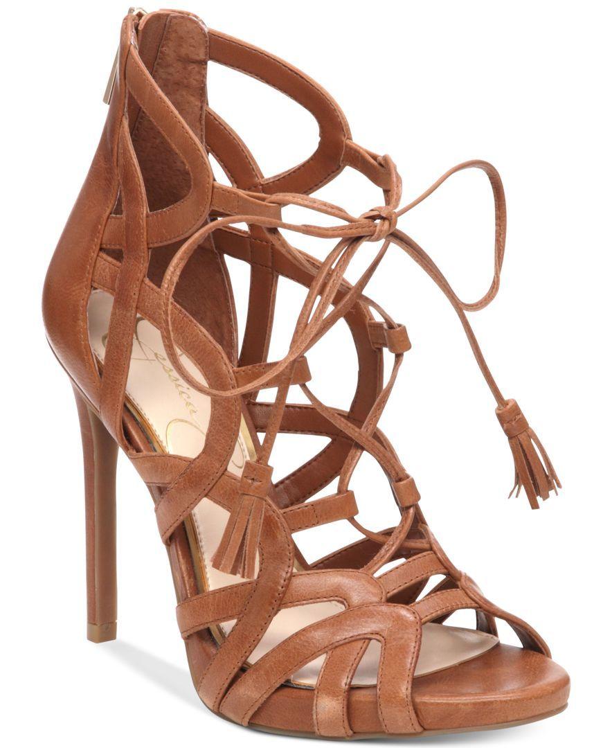 bf6846662a95 Jessica Simpson Racine Lace-Up High-Heel Gladiator Sandals