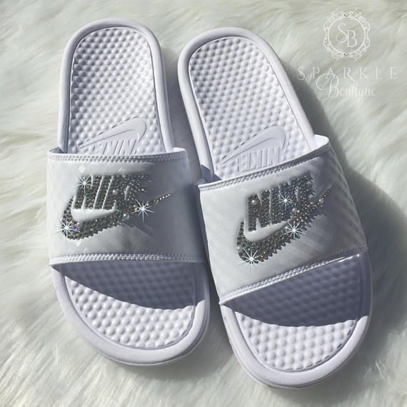 5abb14bff Swarovski Wedding Nike Slides - Bride Shoes - Nike JDI - Pearls and Bling - Bedazzled  Nike - All WHITE - Sparkly Nike Slides - SparkleBoutique2U Perfect for ...