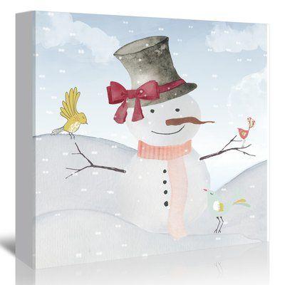 "East Urban Home 'Winter Snowman Birds Animal Christmas' Graphic Art Print on Canvas Size: 20"" H x 20"" W x 1.5"" D"