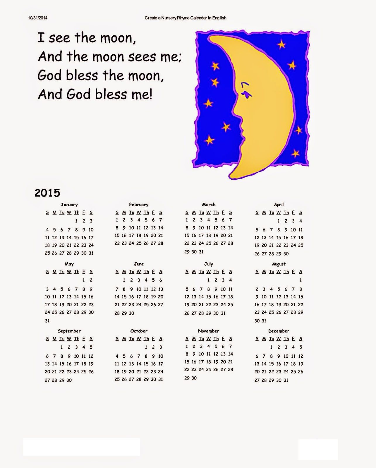 Dltk Kids Calendars Kids Calendar Holiday Calendar Printable