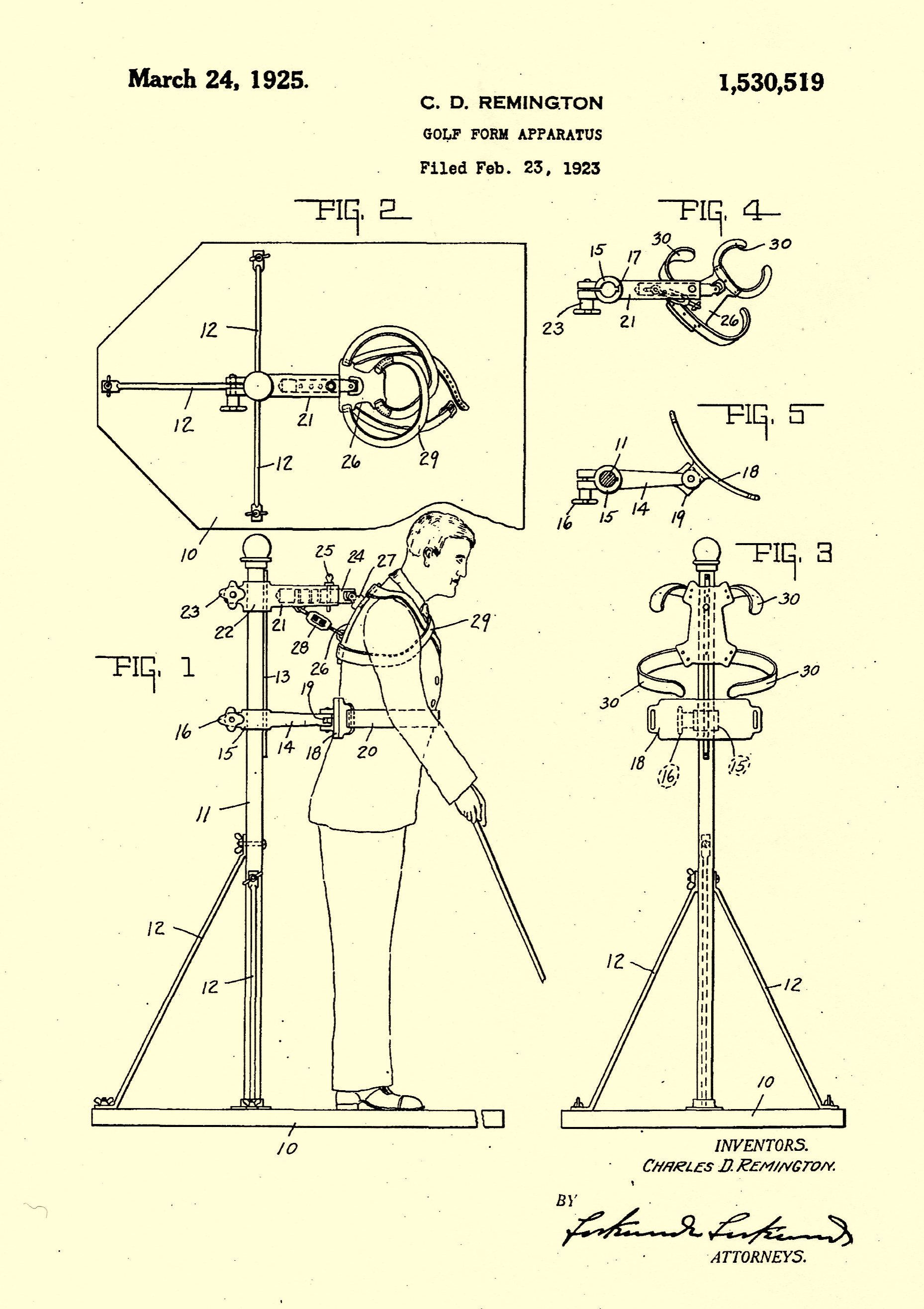 P & L Form Cdremington's Golf Form Apparatus Patented 1925 Our Residential .