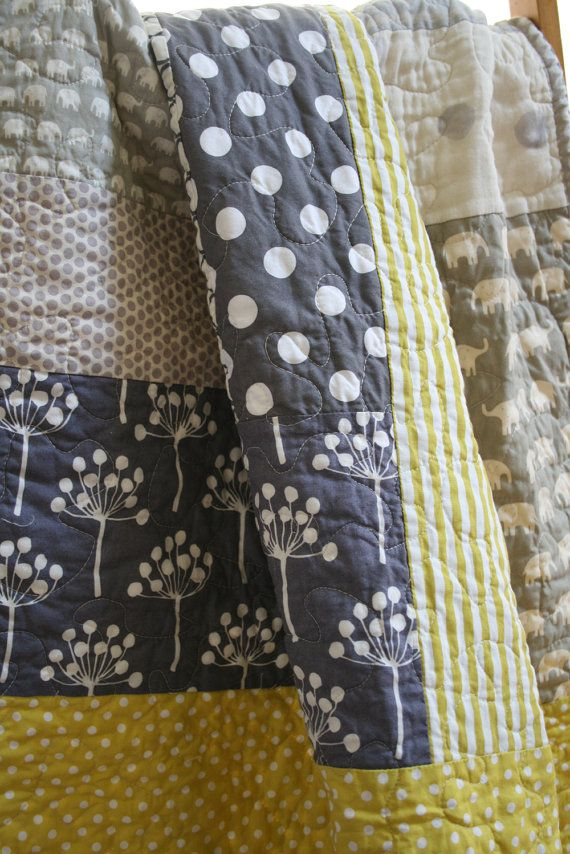 Warm gray and citron colors with elephants and dots- crib to toddler size