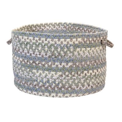 "Colonial Mills Rag-Time Cotton Blend Storage Basket Size: 10"" H x 14"" W x 14"" D, Color: Sea Foam"