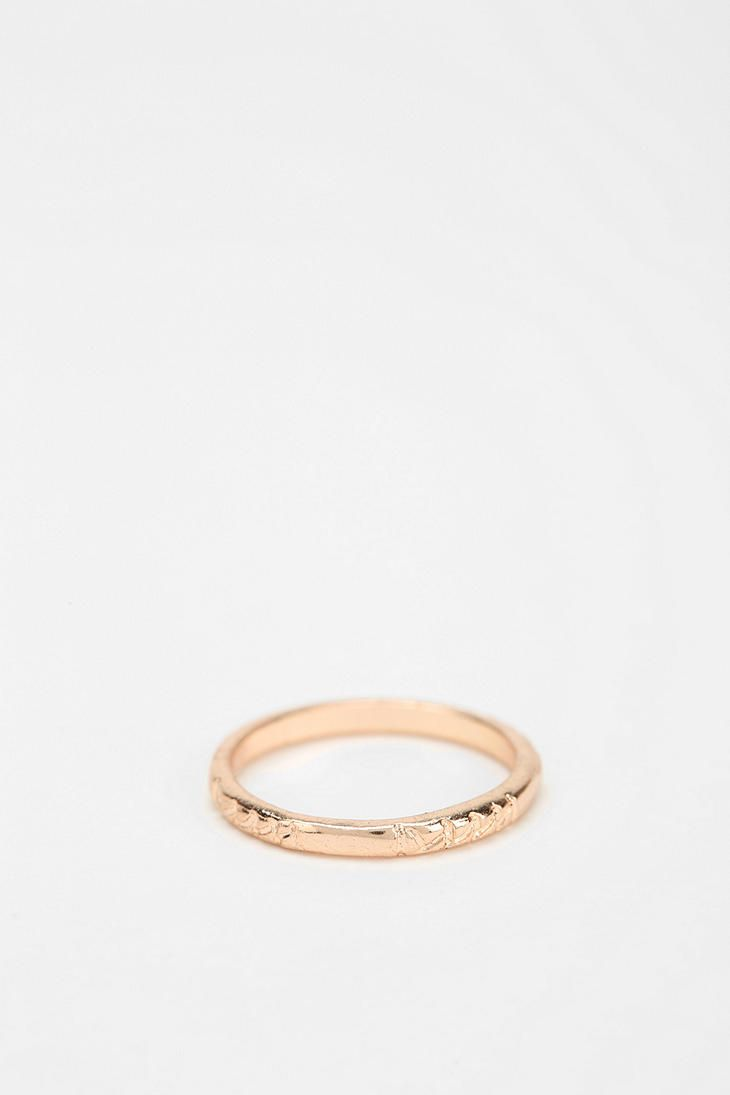 Delicate Etched Midi Ring