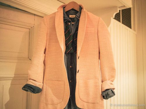 Pink Stella Nova blazer with a denim shirt from h and a bow tie.