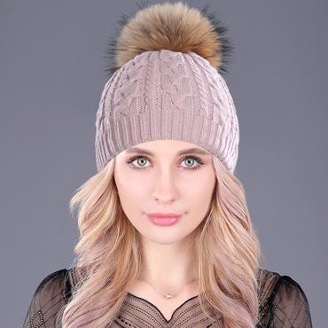 170603847e6ac7 Women's Knitted Cashmere Soft Thick Hat Genuine Raccoon Fur Pom Pom ...