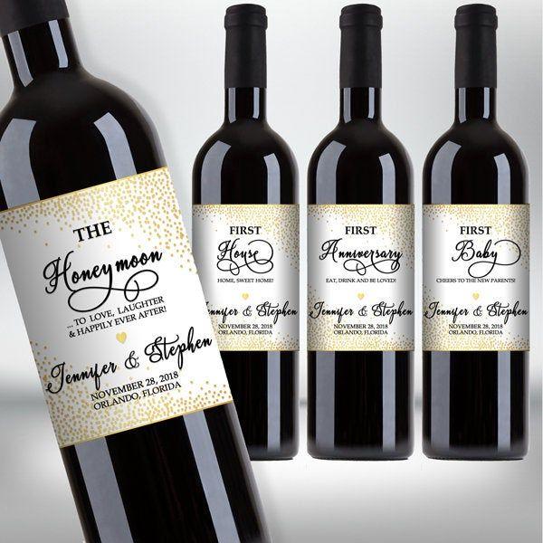 "Custom ""First"" Marriage Milestones Wine Bottle Label Set"