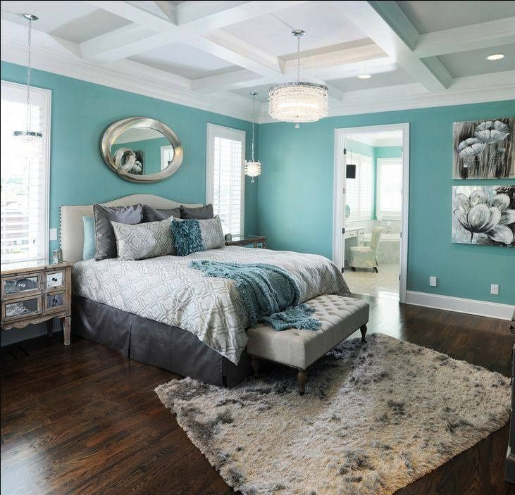 Charming Wall Color Ideas For Master Bedroom Part - 9: Master Bedroom Color Option-Soft Blue Wall Color Scheme And Beautiful  Abstract Wall Art In Small Modern Bedroom Decorating Ideas