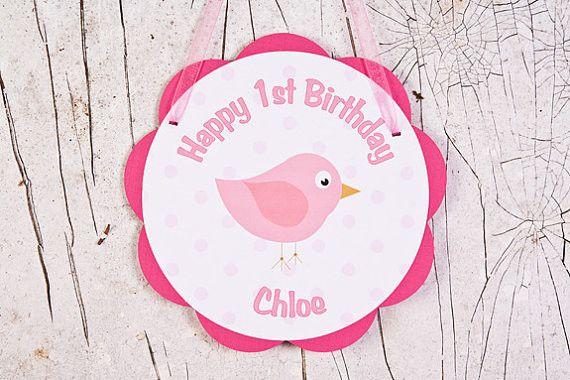 Birdie Door Sign Birthday Party - Hot Pink & Light Pink