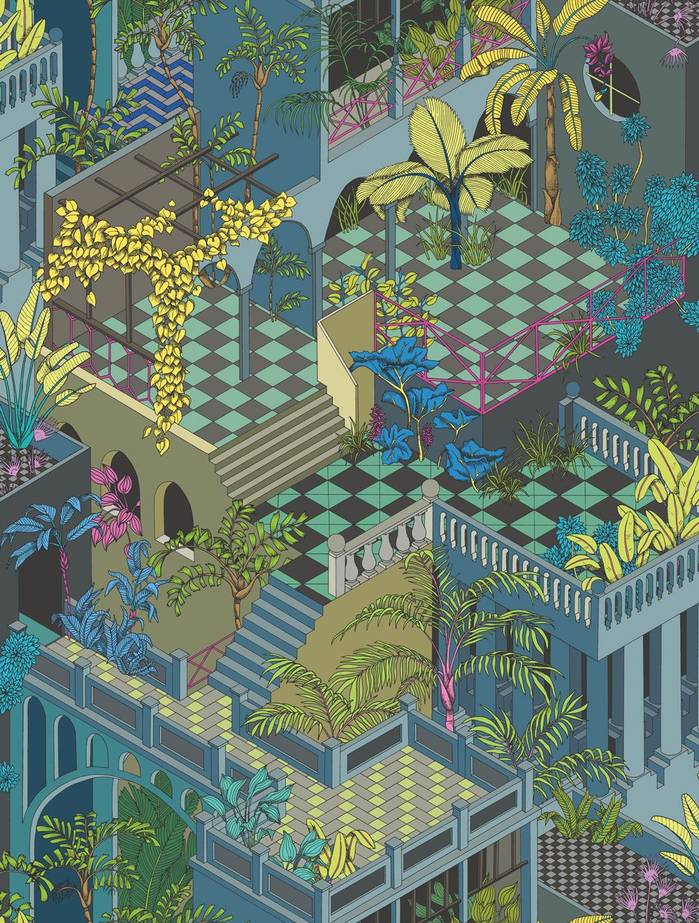 Miami by Cole & Son Navy and Pink Wallpaper 105/4018