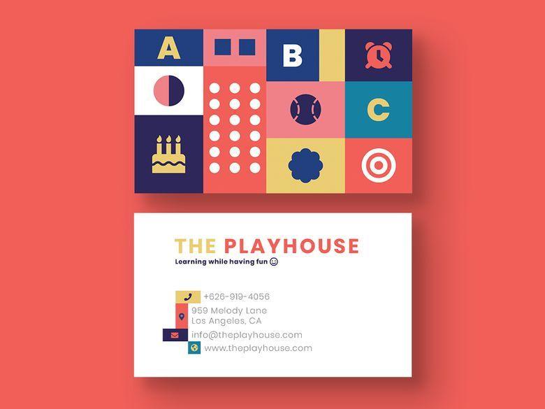 Kindergarten Business Card Business Card Mock Up Business Card Template Letterpress Business Cards