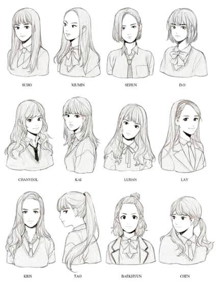 Basic Hairstyles Female Anime Drawings Tutorials Sketches Manga Hair