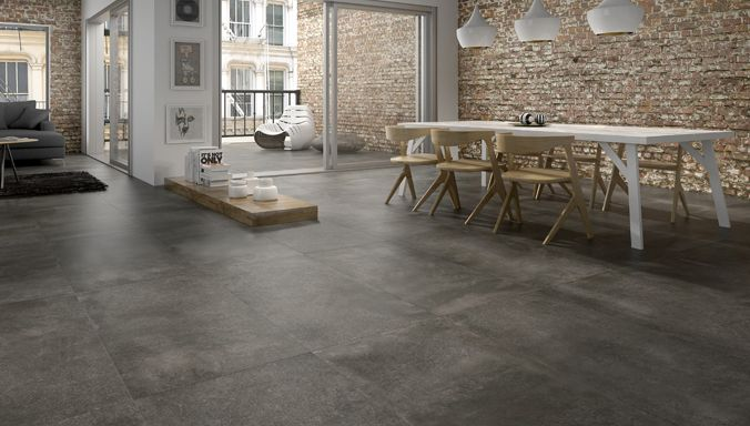 Pavimento en porcelanato jazz grafito 50 x 100 cm for Decoracion piso 65 m