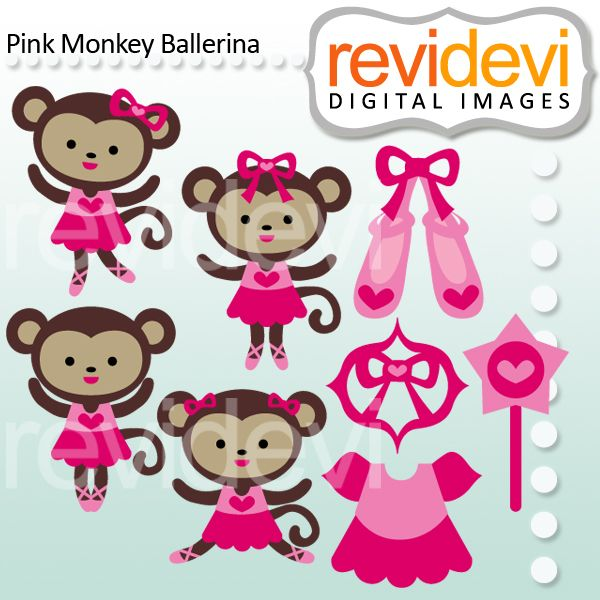 Dancing Babies Cute: Pink Monkey Ballerina Clipart For Your Creative Projects