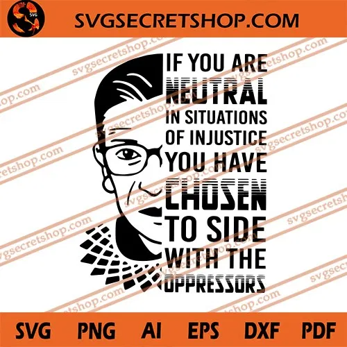 If You Are Neutral In Situations Of Injustice You Have Chosen To Side With The Oppressors Svg