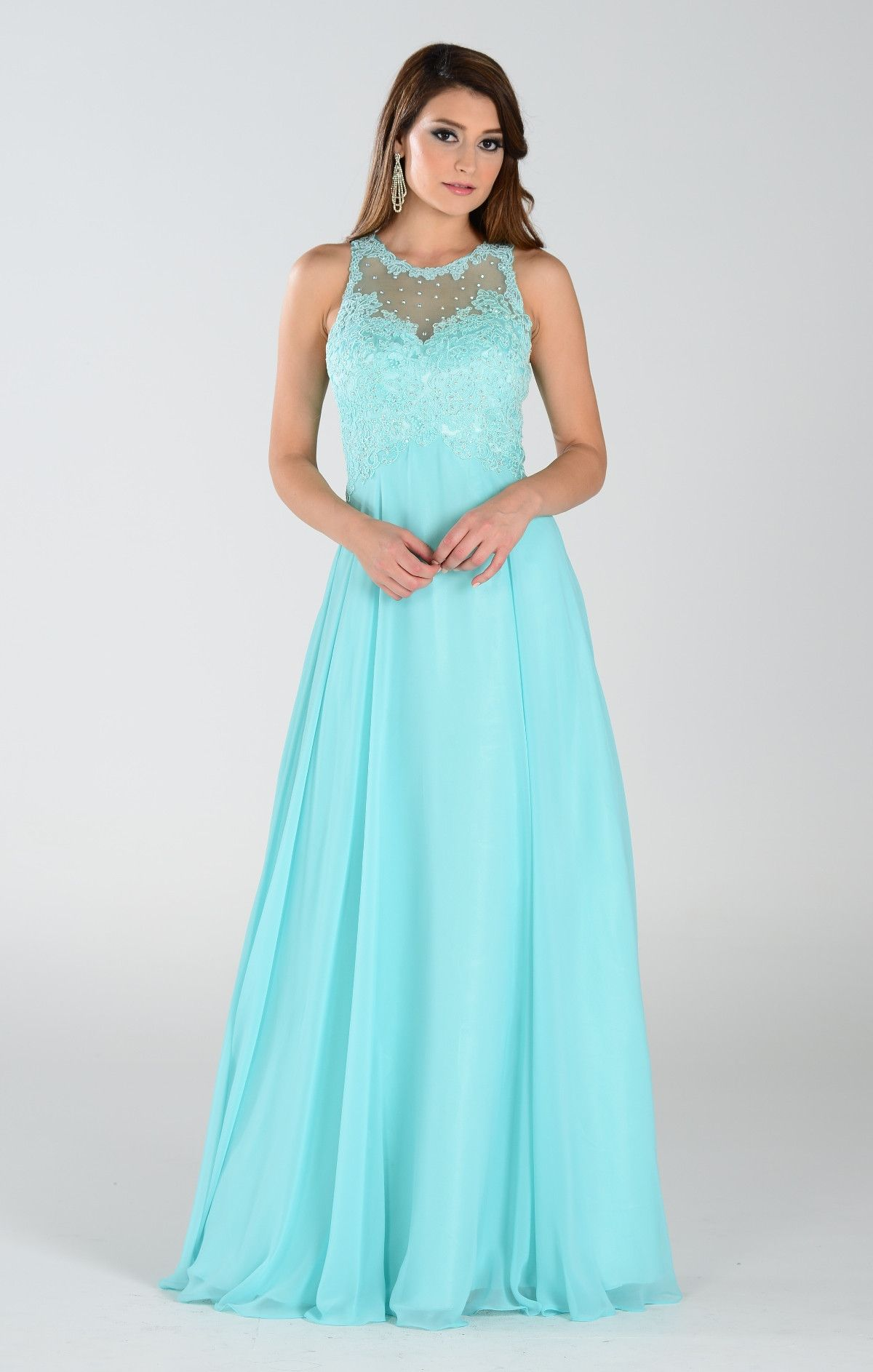 8e046de2eb6 Lace Bodice · Chiffon Gown · Illusion · Floor length dress  rq7310  https   www.simplyfabdress.com products