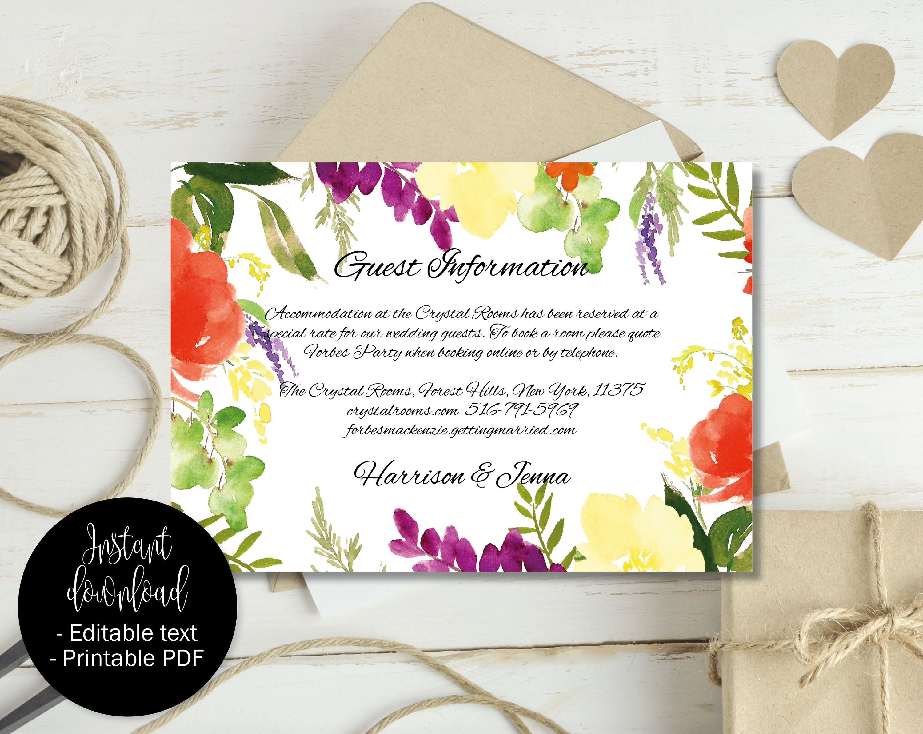 wedding guest information template editable wedding guest