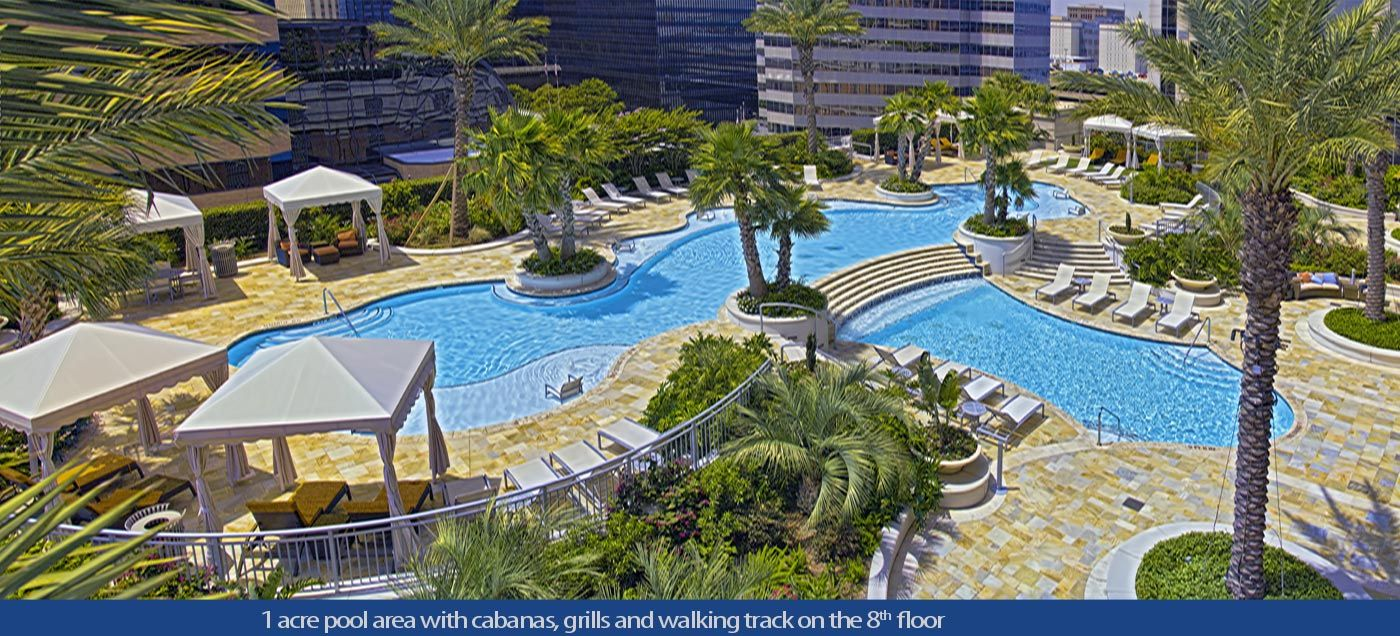 One park place houston one acre pool area luxury living pinterest luxury apartments for Houston swimming pool high rise
