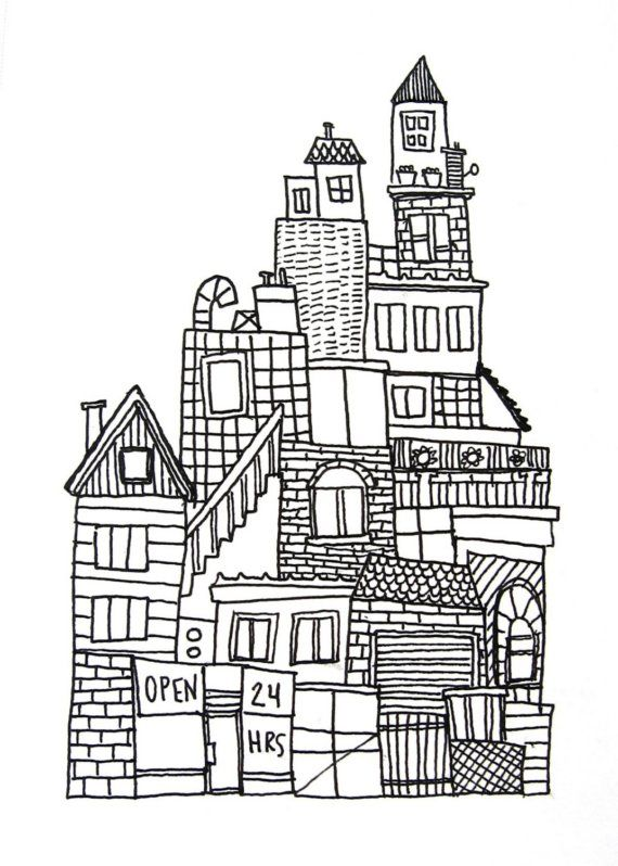 Original Ink Drawing On Paper Black And White Urban City Skyline No