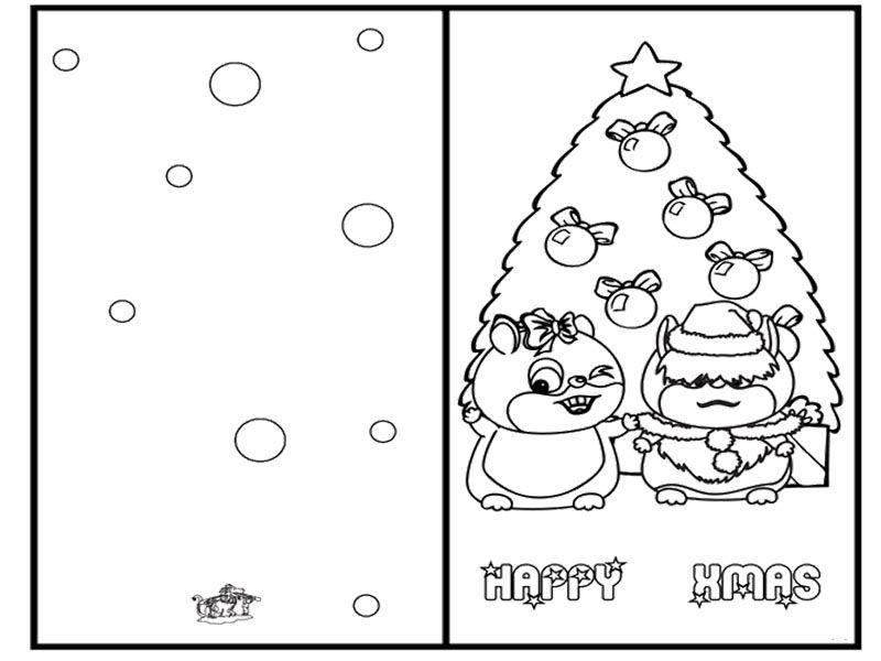 greeting cards christmas with tree christmas coloring page - Christmas Coloring Cards