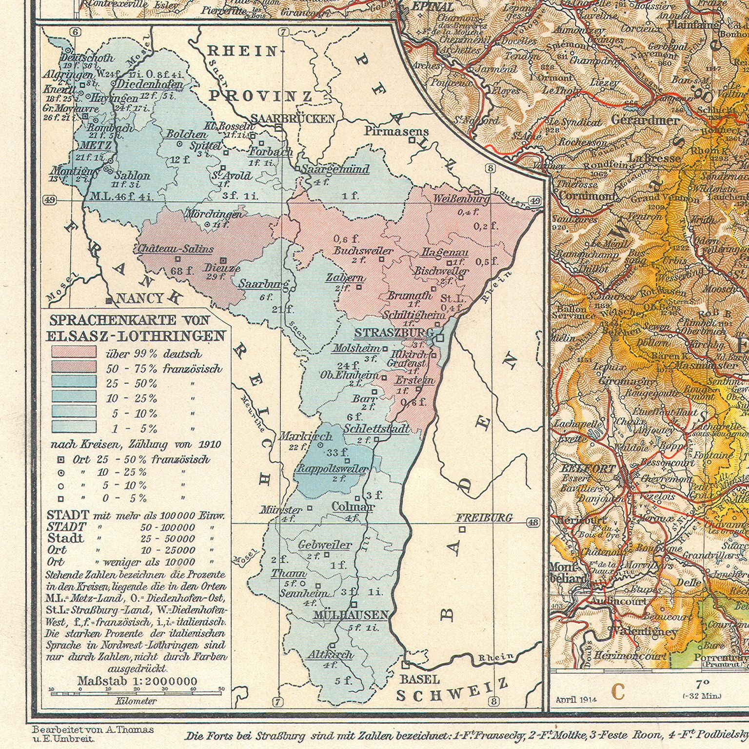 A 1906 German linguistic map of AlsaceLorraine map germany