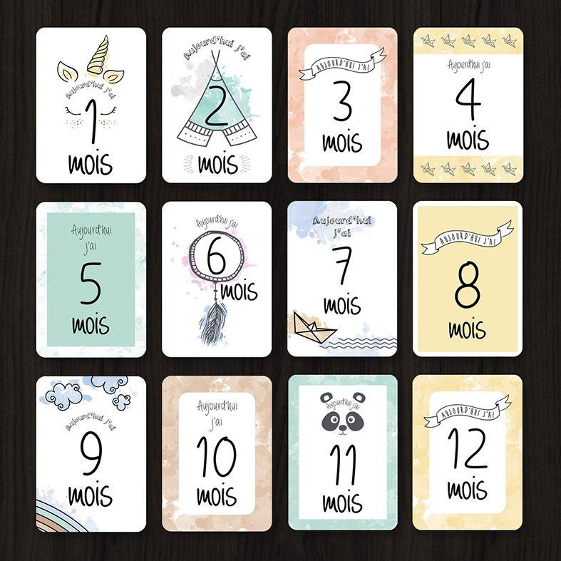 Kit cartes tapes b b premi re ann e premi re ann e le dos et souvenirs - Carte etape bebe a imprimer ...
