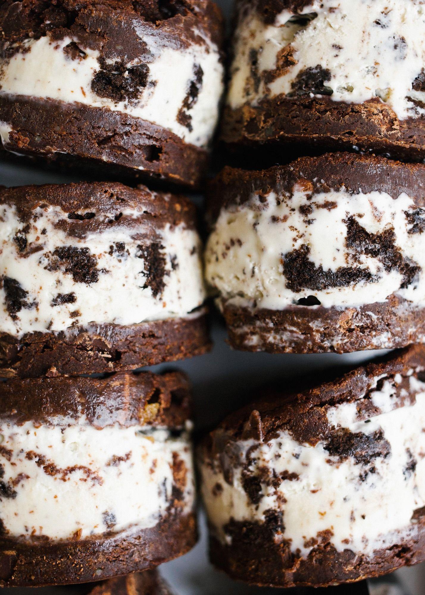 Brownie Ice Cream Sandwiches - Wood & Spoon