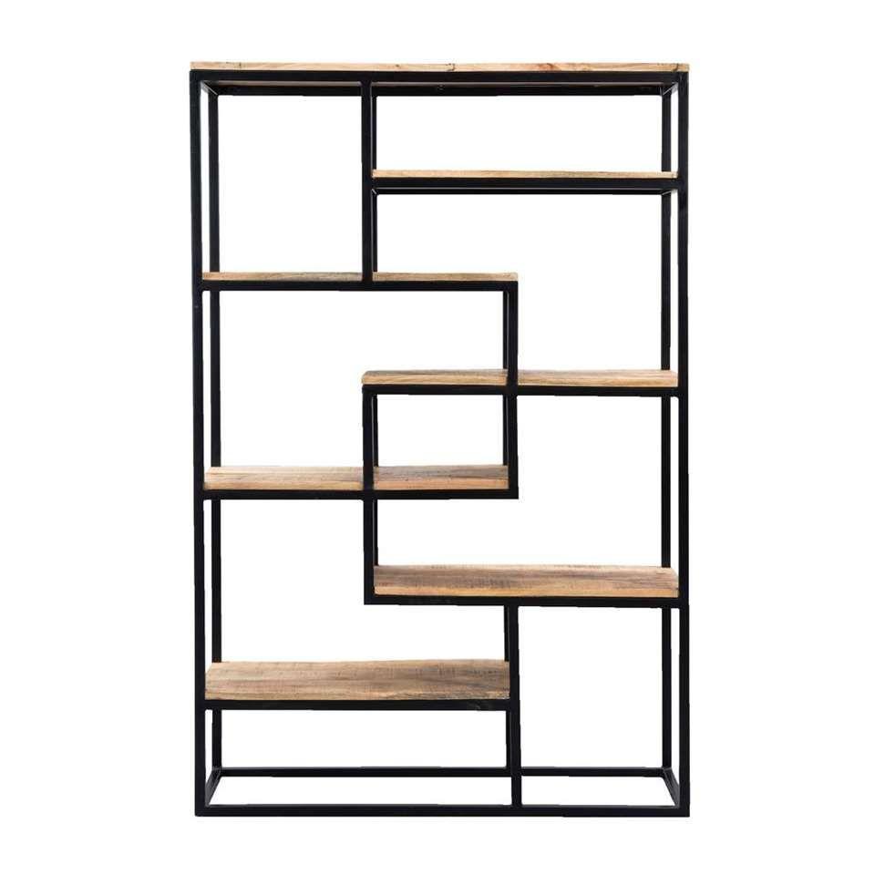 Boekenkast Kyan - zwart/naturel - 180x120x40 cm | Leen Bakker | For ...