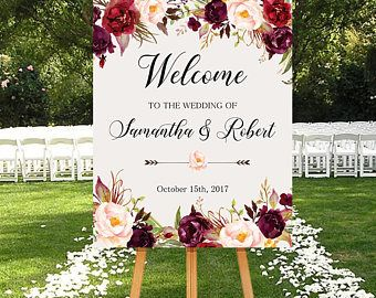 Wedding Welcome Sign Marsala Burgundy Peonies Fl Boho Digital Reception Bridal Poster