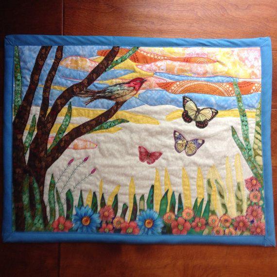 Butterfly and Bird Art Quilt Nature Quilt Quilted by AnnaBellaArt ... : nature quilt - Adamdwight.com