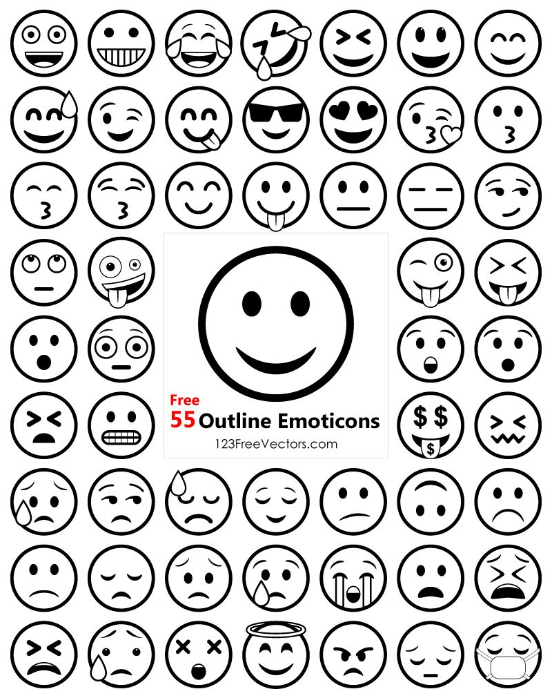 Outline Emoji Icons Free Pack Emoji Drawing Emoji Drawings Emoji Templates