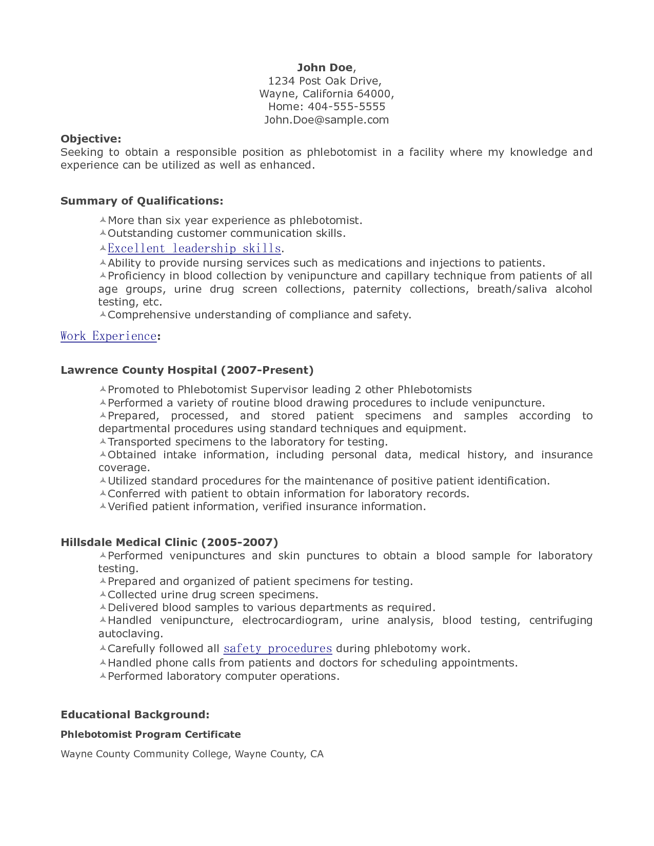 Resume Objectives For A Phlebotomist  Sample Phlebotomist Resume