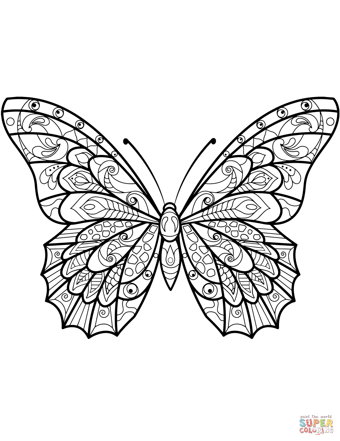 Zentangle Butterfly Coloring Page Insect Coloring Pages