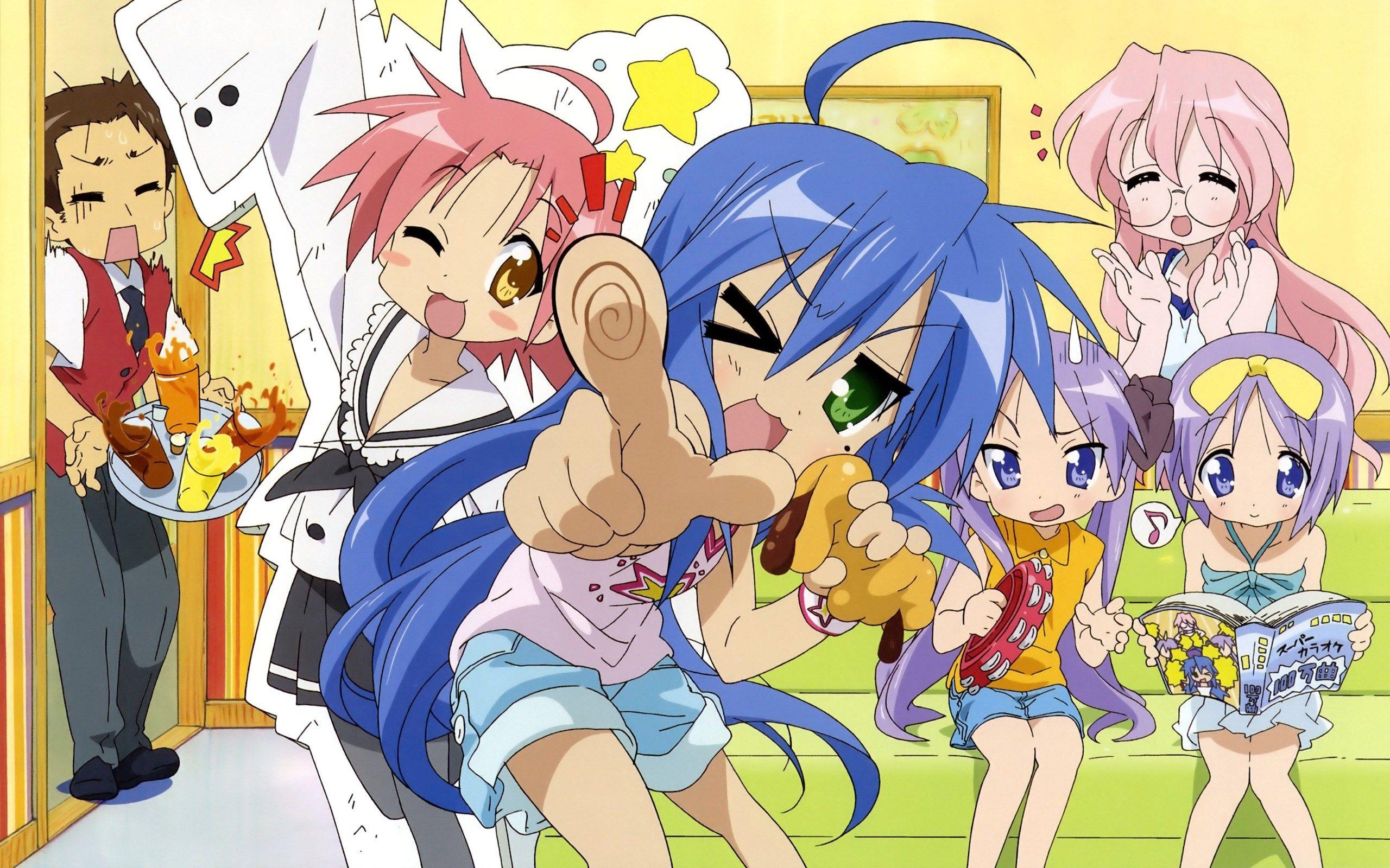 Lucky Star Konata Izumi Kagami Hiiragi Tsukasa Miyuki Takara And Other Characters From The Anime Series