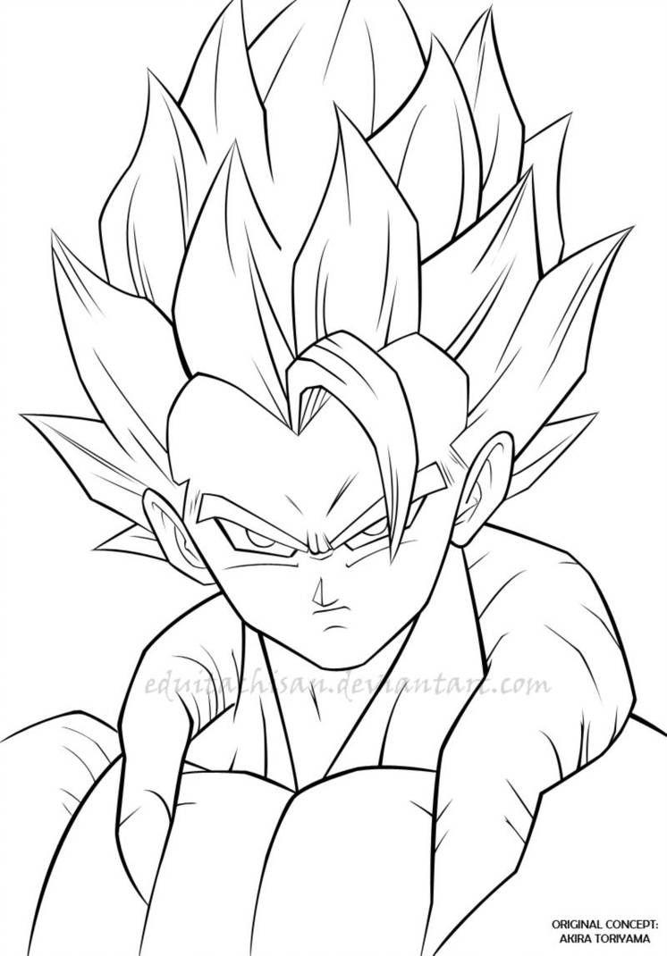 Gogeta Dbz Lineart By Eduitachisan Cómo Dibujar A Goku