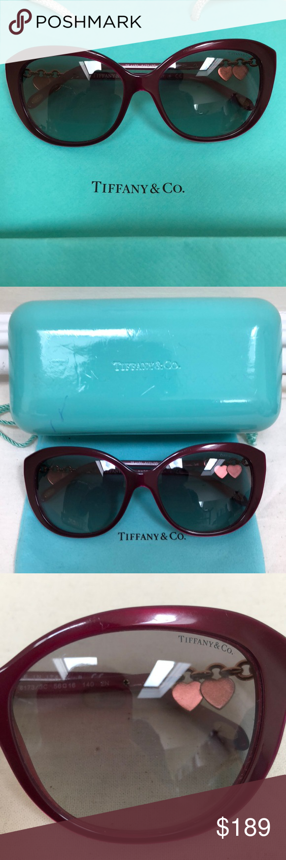 76a962f3be7a 🔴Authentic Tiffany   Co Sunglasses 😎🔴 Great condition burgundy color  sunglasses with 2 gold hearts  Please Return To Tiffany  Co handles .