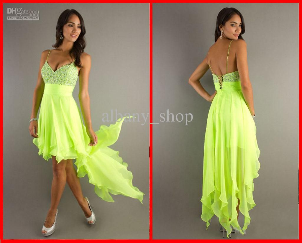 Wholesale new high low spaghetti strap prom dresses sequin