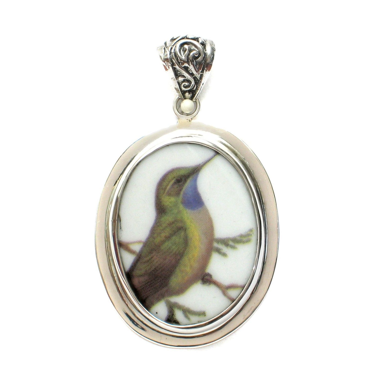 Broken china jewelry hummingbird on a branch a sterling oval pendant