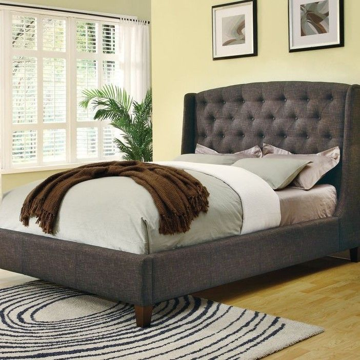 King size Upholstered Bed in Dark Charcoal with Button-Tufted ...