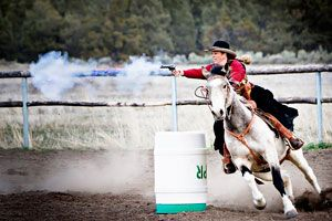 Kitty Lauman. Cowboy mounted action shooting. She's the best!!!!