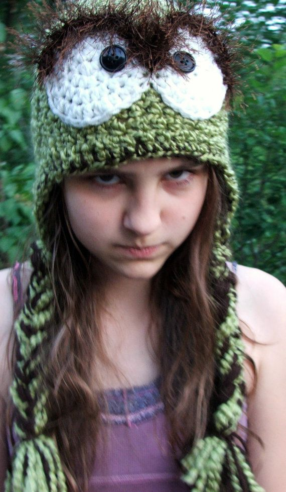 af6e4813f00 Crochet Oscar The Grouch Inspired Hat. fits ages 10 and up. Sesame ...