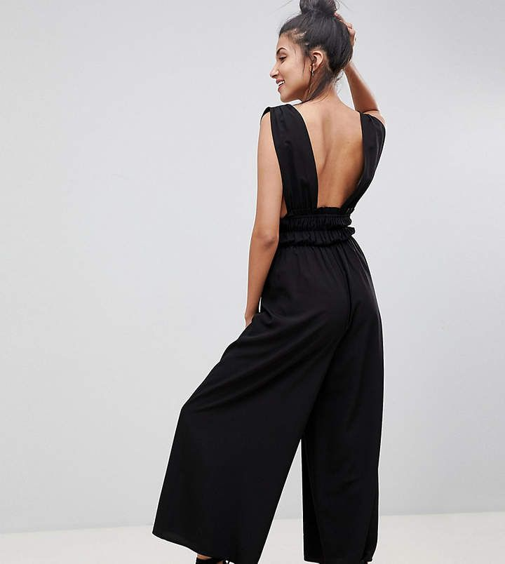 314e2c405ddb DESIGN Tall Ruched Waist Plunge Jumpsuit | Products | Jumpsuit ...