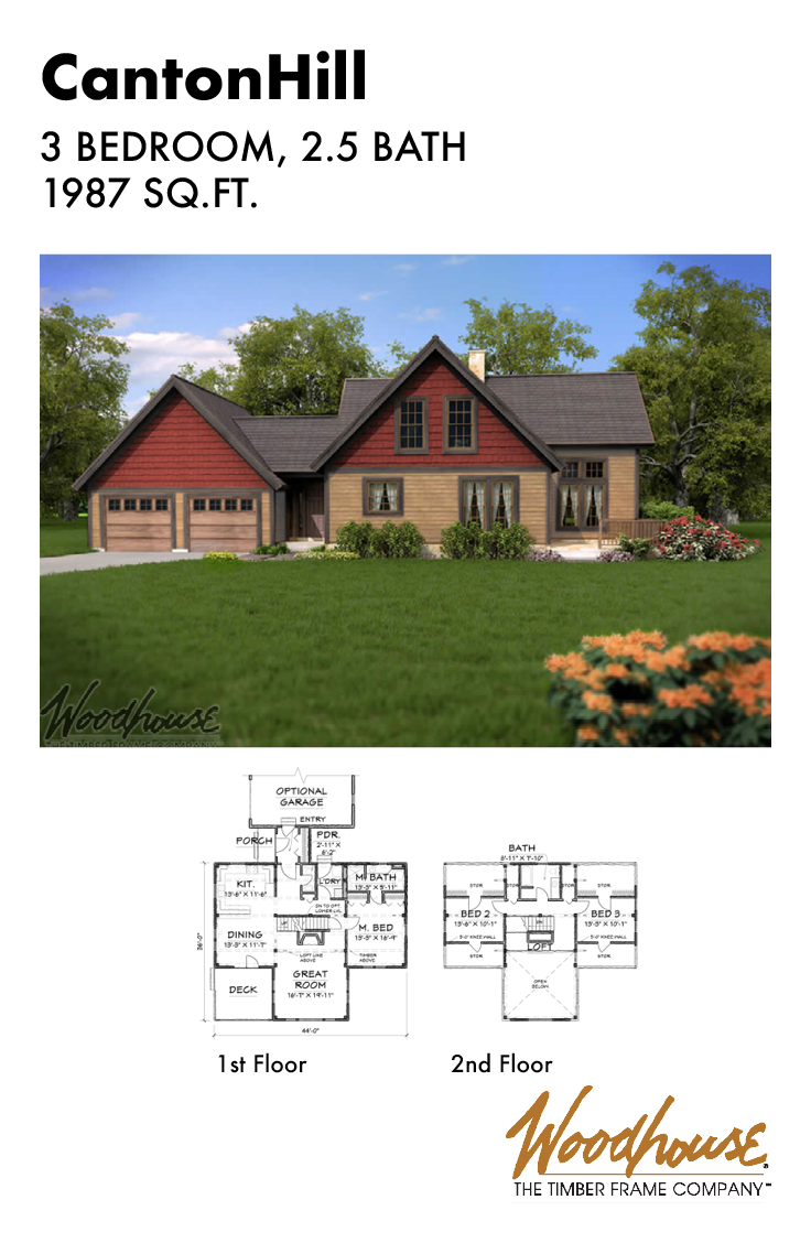 This 1 987 Square Foot Timber Frame Home Plan With 3 Bedrooms And 2 Bathrooms Has A Traditional Finish W Timber Frame Home Plans Timber Frame House Floor Plans
