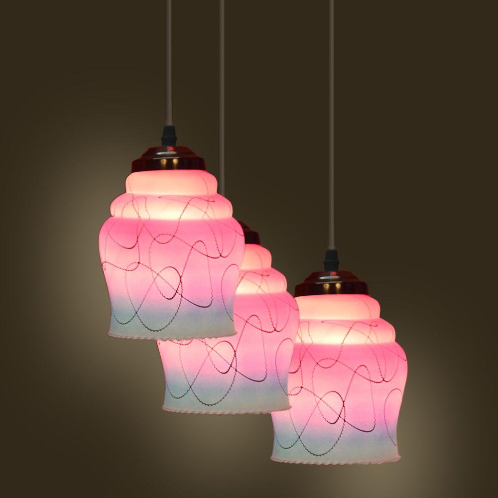 Pandent hanging ceiling lamp three lamp colorful u decorative free