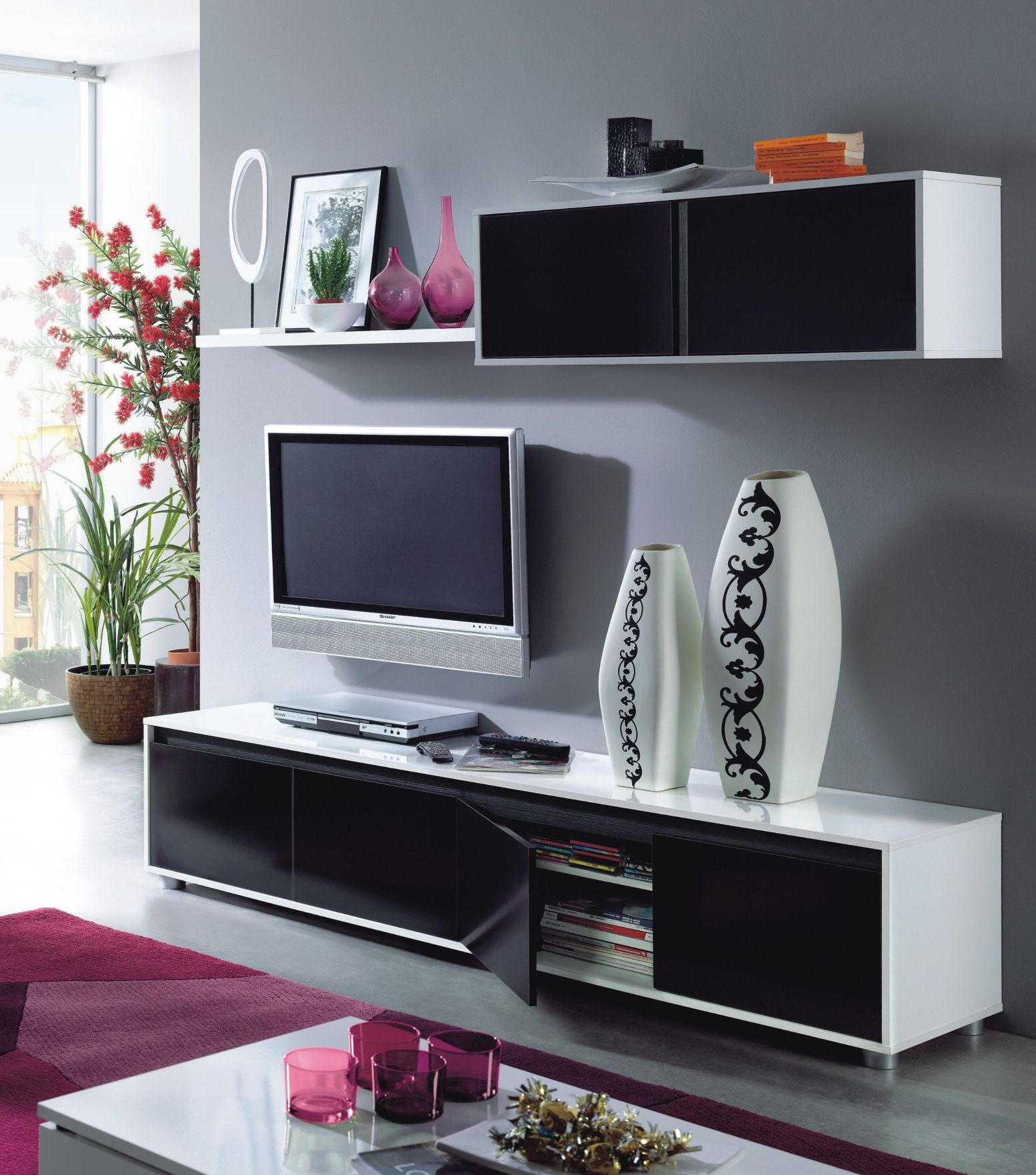 Black And White Complete Wall TV Cabinet/ 50 Inch TV Stand